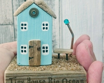 Tiny House, Little Wooden Houses, Recycled Wood, DriftwoodSails, Driftwood Art, Wood Gift, New Home Gift, Beach Lover, Nature Lover, Diorama
