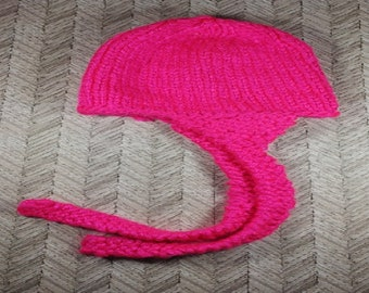 Newborn bright pink aviator winter hat