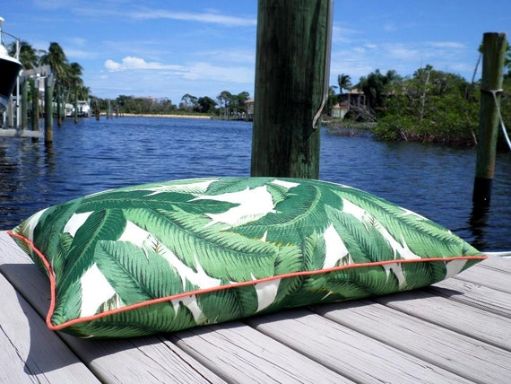 Large Floor Pillow Cover Palm Print Green Palm Leaf Cushion
