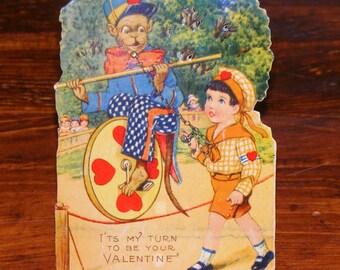 Antique German Valentine Card Diecut Stand Up  Monkey Acrobat with Ewdwardian Boy Metal Chain Accent