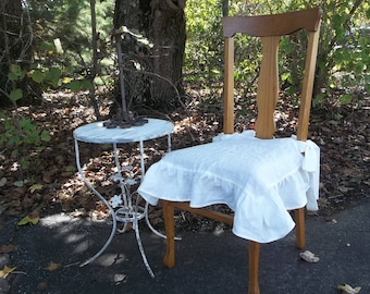 Ruffled Linen Chair Slipcover Ruffled Chair Cover in Custom Fabrics Custom Sizes Available