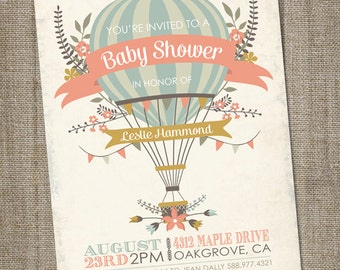 Hot Air Balloon Baby Shower Invitation, Hot Air Balloon Invitation, Up Up and Away Shower Invitation, PRINTABLE, Hot Air Balloon Baby Shower