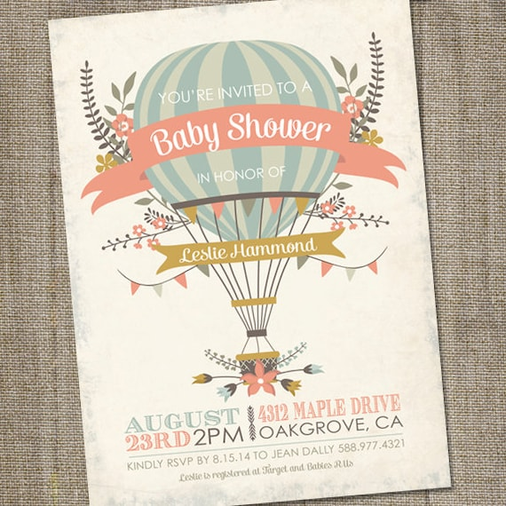 Hot air balloon baby shower invitation hot air balloon hot air balloon baby shower invitation hot air balloon invitation up up and away shower invitation printable hot air balloon baby shower filmwisefo Image collections
