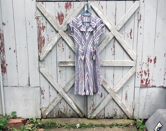 1960s striped cotton day dress dress M L