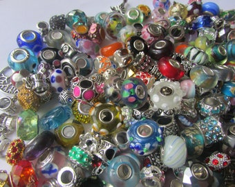 Grab Bag Charms, European Beads- Mixed Lot- Glass, Crystal, Murano Lampwork, Fimo, Wood, Dangles-Large Hole Beads-Jewelry Making