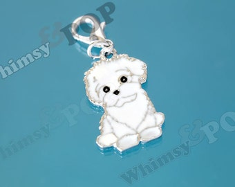 1 - White Maltese Dog Enamel Charm, Dog Charm, Maltese Charm, 26mm (2-5F)