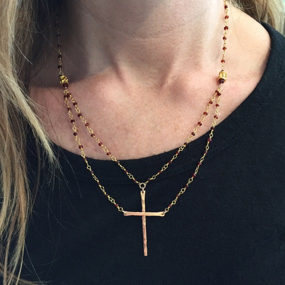 """Be Still""™ Cross Necklace in Gold Vermeil and Garnet"