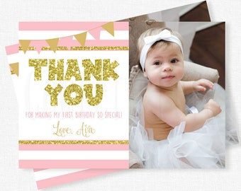 Pink and Gold Thank You, First Birthday Thank You Card, Photo Thank You Cards, Girl Birthday Thank You, Personalized