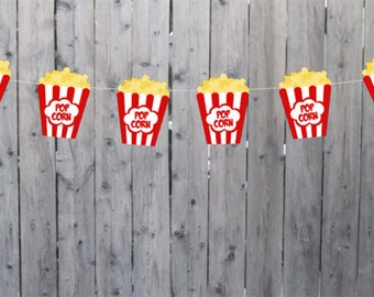 Movie Party Garland, Movie Party Banner, Popcorn Banner, Popcorn Garland, Photo Prop (22817107P)