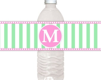 Monogram Water Bottle Labels, CUSTOM Printable Stripes and Monogram, Wedding Water Bottle Labels, you print, DIY water bottle labels