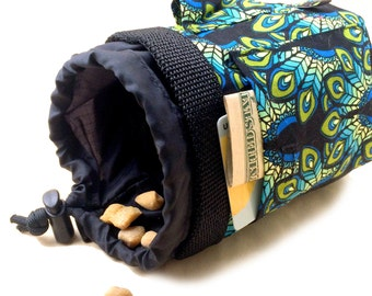 NAGA Bag Dog Treat Training Pouch with Belt Clip & Poop Bag Dispenser Peacock Fabric