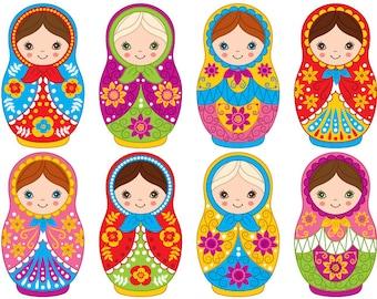 Matryoshka Clipart - Digital Vector Matryoshka, Doll, Russian, Nesting, Matrioshka Clip Art For Personal And Commercial