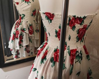 White cocktail summer dress with roses flowers