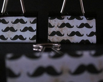 "Binder Clips  - ""Da Moostache"" (12 medium binder clips)"