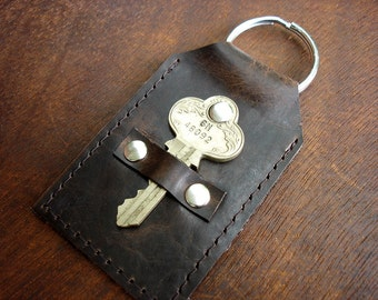 Distressed Brown Leather Keychain with Fancy Vintage Key - Leather Key Fob