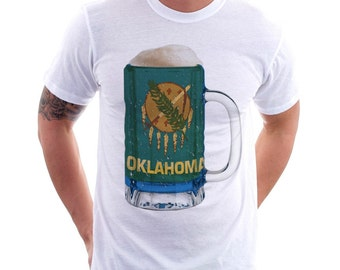 Oklahoma State Flag Beer Mug Tee, Home State Tee, State Pride, State Flag, Beer Tee, Beer T-Shirt, Beer Thinkers, Beer Lovers Tee, Fun Beer