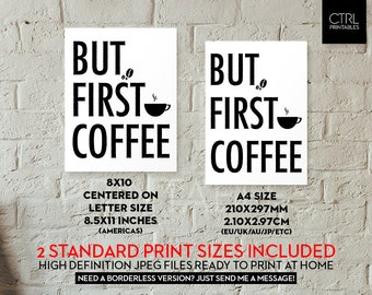 But First Coffee, Cafe Typography Printable Coffee House Wall Art Beans Poster Kitchen Decor Home Apartment Decoration Office Home