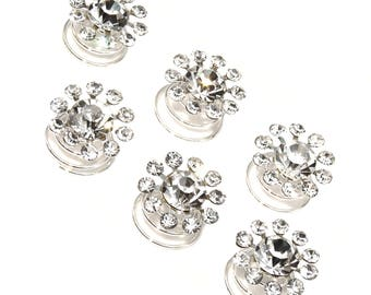 Flower Spiral Twist Hair Pins Clips Wedding Jewelry Rhinestone Hair Pins (pack of 8)