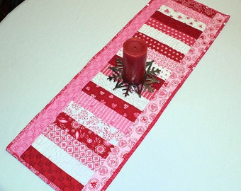 Valentines Day Table Runner Quilt - Surrounded by Love Moda Fabric by Deb Strain in Pink, Red and White, Quilted Valentine Runner