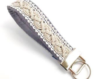 Boho Keychain, Wristlet Key Fob, Key Chain, Boho Wrist Lanyard, Boho Key Fob, Lace Key Wristlet    BOHO TWIST GRAY