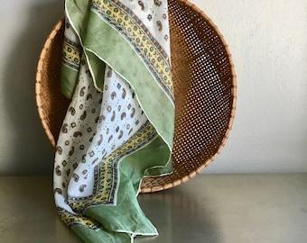 vintage paisley scarf square moss green silk boho bohemian