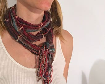 ANYA Multicolored Tattered-Look Traveler's Handkerchief Tassel Scarf