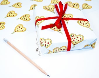 Pizza Gift Wrap ∙ Wrapping Paper ∙ Birthday Gift Wrap ∙ Present Wrapping ∙ Bff Giftwrap ∙ Funny Wrapping Paper ∙ Pizza Heart Wrapping Paper