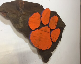 Wooden Clemson Tigers Rustic Wooden Wall Art
