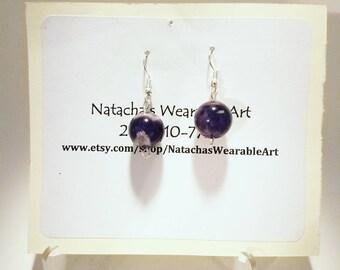 "Amethyst and Sterling Silver Earrings with Stainless Steel Earring Hooks/  Earrings Hang 1.5"" Long"