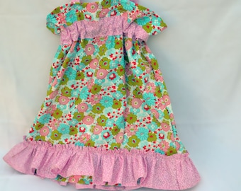 Girls dress size 3 toddler, summer dress, girl clothes, dresses, sundress, summer clothing in blue, green and pink