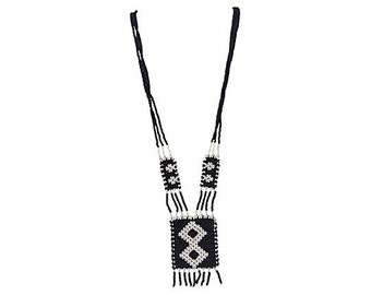 African Black & White Beaded Boho Chic Coachella Necklace