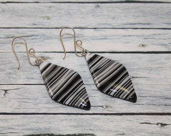 Black and white striped earring