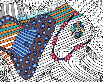 Adult Coloring page: Color Your Accessories No.2
