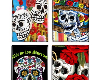 Set of 4 Magnets Day of the Dead Skulls