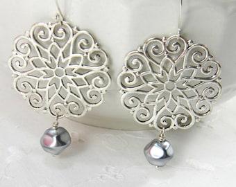 Chandelier earrings Silver boho gypsy earrings Pearl Dangle earrings Medallion Earrings