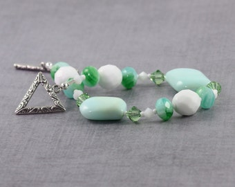 Larimar Bracelet Crystal Blue White Sea Green Calypso Jewelry Summer Beach Fashion Beaded Bracelet