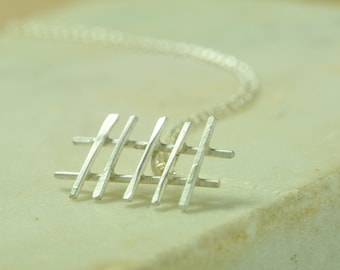 Picket Fence *  Metalsmith Sterling Silver Hand Wrought Artisan Pendant