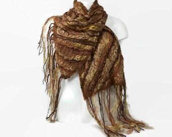 Nuno felted scarf, merino wool scarf, beige scarf, fashion scarf, long scarf, womens fashion, shawl, wrap, nuno  felting
