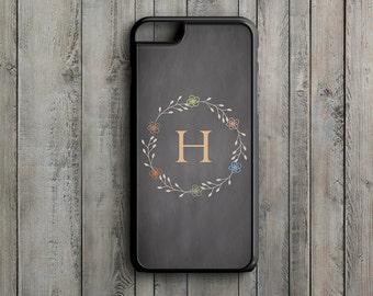 Vintage Flowers - Monogrammed - iPhone 6s, iPhone 6s Plus, iPhone 7s, iPhone 7s Plus, Samsung S6 Phone Case