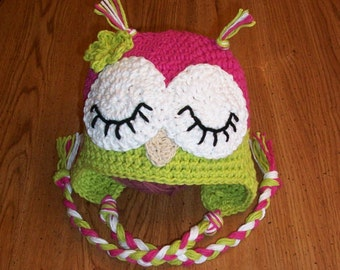 Pattern Sleepy Owl Hat Crochet 4 Sizes Newborn to Toddler INSTANT DOWNLOAD