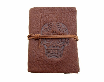 Leather book Terra Sugar Skull - I - in Buffalo Leather - diary, journal, notebook or travel diary