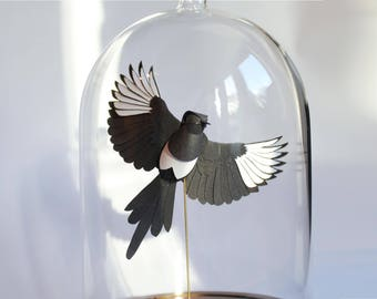 One For Sorrow. Paper-cut Bell Jar Sculpture. 2017.