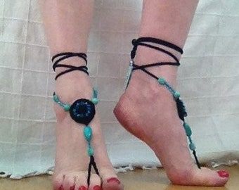 Crochet and beaded barefoot sandals black and turquoise