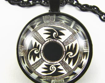 SUN and MOON MANDALA Necklace -- Native American spiritual art, Celebration of Light,  First Nations art