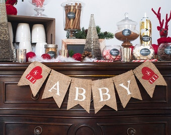 Personalized Mitten Burlap Banner, Mittens Name Banner, Christmas Birthday Party, Christmas Nursery Decor, Christmas Gloves Banner, B423
