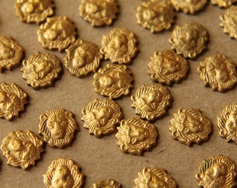 10 pc. Small Raw Brass Lion Heads: 8mm by 8mm - made in USA | RB-040
