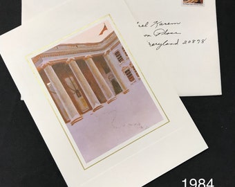 Ronald Reagan and Nancy Reagan 1984 Christmas Card as President from The White House (Some expected damage to envelope)