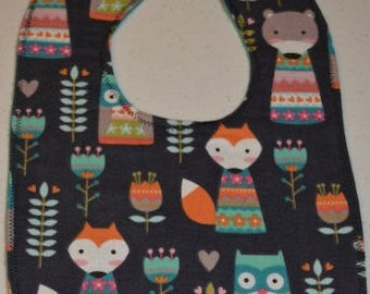 Forest critters - flannel bib