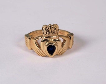 14K Yellow Gold Claddagh Ring with a Sapphire, Size 7