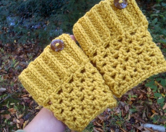 Button Boot Cuffs - Mustard Yellow Crochet Winter Boot Toppers - Boot Sleeves
